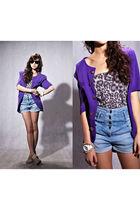 purple vintage vivida blazer - silver Topshop top - blue Topshop shorts - beige