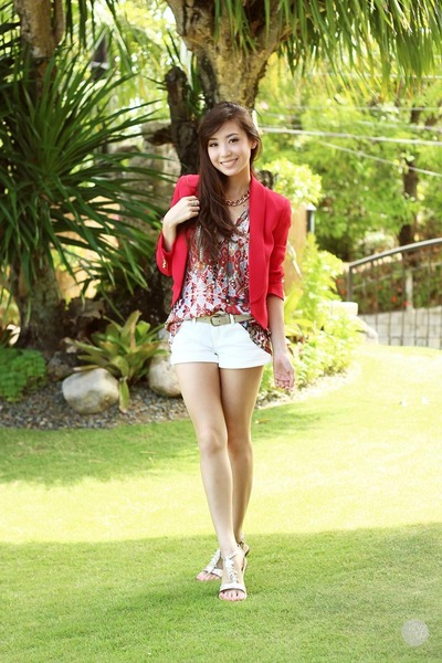 red Mango blazer - white island girl sandals