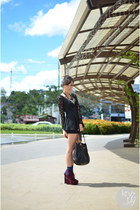 black WAGW dress - black Prada bag - navy windsor socks