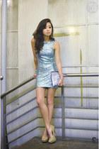 aquamarine TFNC LONDON dress - silver Zara bag - camel Call it Spring heels