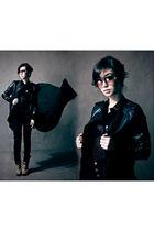 black hannah bacalla jacket - black WAGW top - black Topshop jeans - brown micha