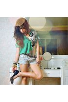 green vintage blouse - blue What A Girl Wants shorts - black stella luna shoes -