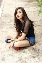 blue romwe shorts - black Sheinside heels - black romwe top