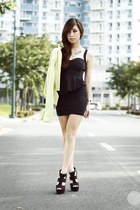 black Korean Rose dress - lime green lulus blazer - black Call it Spring heels