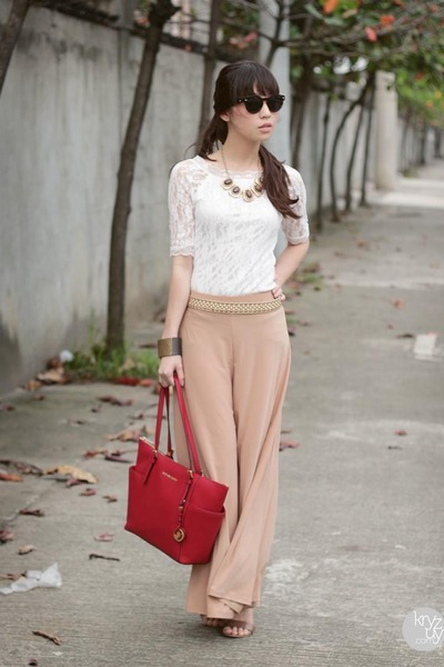 red Michael Kors bag - camel Trendphile pants - white lemon top