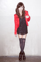 black stephiesayscom dress - red crossings blazer - black Topshop intimate - bla