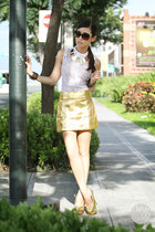gold OASAP skirt - dark brown Burberry sunglasses - white The Ramp top