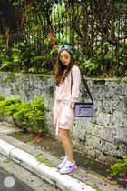 light pink Choies sweater - black YakPak bag