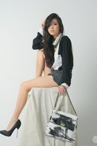 white hob bag - black closet goddess shorts - white clothes for the goddess top