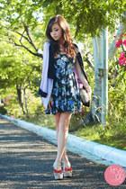 navy Iheartmatilda dress - light purple Eudora blazer