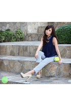 lime green Call it Spring bag - sky blue Zara pants - navy Club Couture top