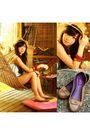 Blue-romper-suit-brown-fedora-accessories-brown-suelas-shoes