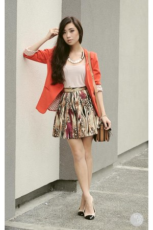 red lemon blazer - brown Celine bag - dark brown ABCD skirt