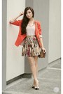 Red-lemon-blazer-brown-celine-bag-dark-brown-abcd-skirt