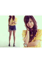 gold vintage blouse - blue Levis shorts - white ice watch accessories - black Su