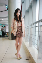 beige Blazer blazer - brown Louis Vuitton bag - gold michael antonio heels - bro