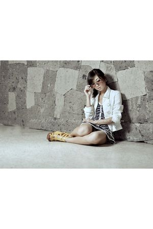 white WAGW blazer - blue SIN dress - gold michael antonio shoes