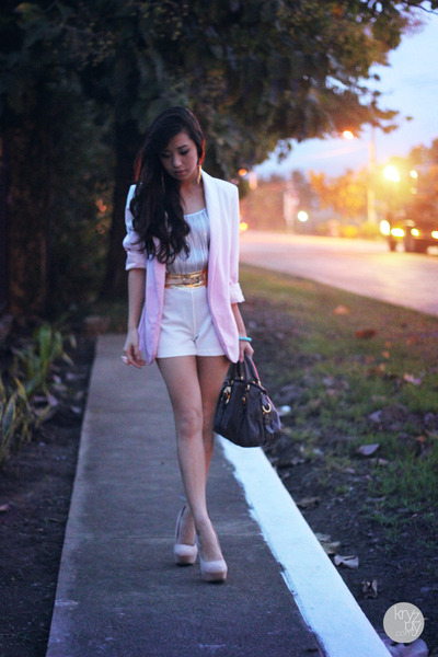 light pink romwe blazer - heather gray Prada bag - white SM GTW shorts