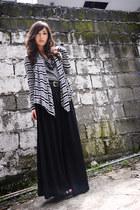 black romwe pants - dark gray H&M cardigan - black sm accessories necklace