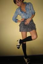 blue Zara top - black What A Girl Wants skirt - black Mossimo socks - black Summ