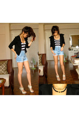 black Pink Manila blazer - black WAGW top - blue Topshop shorts - beige michael