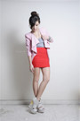 Bubble-gum-romwe-blazer-silver-wagw-shirt-red-club-couture-skirt