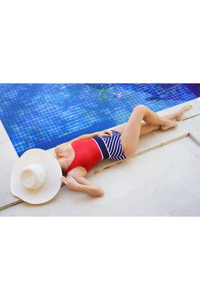 red I Love Koi swimwear