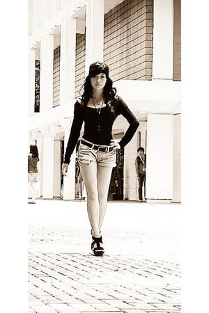 What A Girl Wants scarf - Topshop shirt - What A Girl Wants shorts - Zara shoes