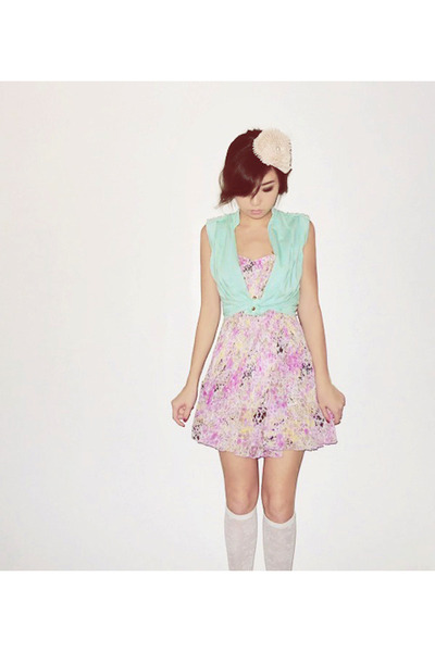 light pink WAGW dress - white WAGW socks - neutral WAGW accessories - aquamarine