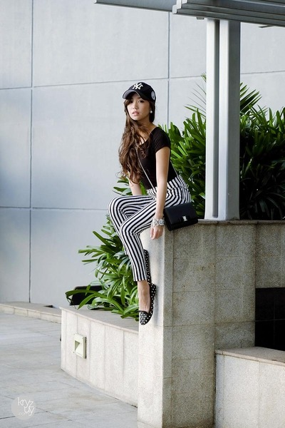 black OMGFashion top - white romwe pants