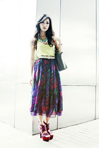 gray longchamp bag - purple So FAB heels - deep purple The Second Shop skirt - s