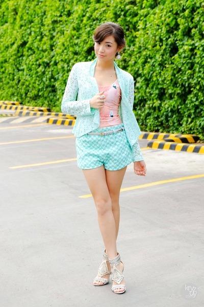 aquamarine windsor blazer - aquamarine Thistle & Co shorts