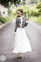 white coach bag - white romwe sunglasses - black romwe top - white WAGW skirt