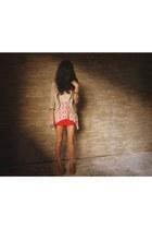 bronze comfit flats - tan Topshop blazer - tan WAGW top - red Club Couture skirt