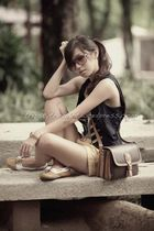 blue Forever 21 vest - yellow Suelas shoes - brown Celine bag