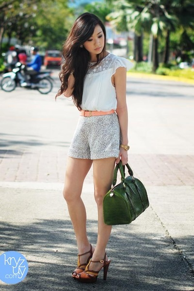 green Fino bag - white Coexist shorts - carrot orange kashieca belt