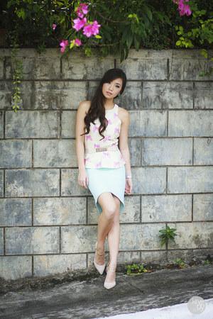 sky blue WAGW skirt - white WAGW top