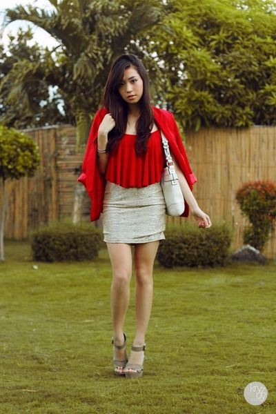 red ellysage blazer - red Style Staple top - silver wicked drops skirt