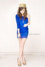 Blue-iwearsincom-dress-light-brown-topman-hat-gold-michael-antonio-heels