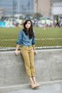 Tan-levis-jeans-blue-levis-top-eggshell-sheinside-heels
