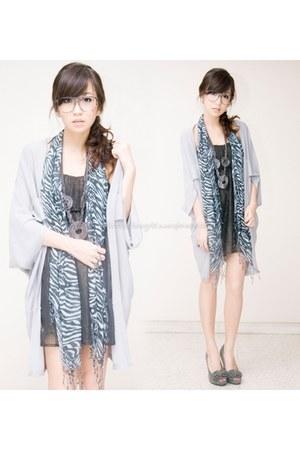 gray iwearsincom dress - heather gray WAGW scarf - silver WAGW cardigan