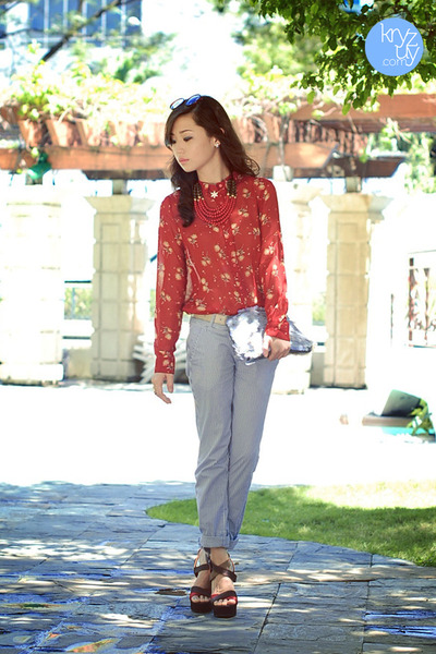 red berrybow top - silver Zara bag - periwinkle Zara pants