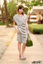 green Fino bag - heather gray WAGW dress - white So FAB wedges