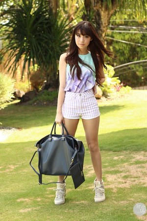 gray ALT Manila bag - sky blue Esther top - silver anagon ring