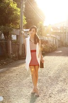 ruby red WAGW skirt - camel WAGW top - white WAGW vest