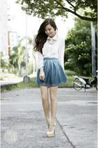 gold island girl necklace - eggshell Sheinside heels - sky blue sabrina skirt