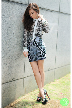 black Bqueen skirt - charcoal gray romwe top - black Sheinside heels