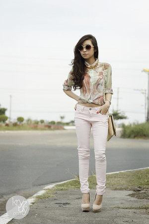 light pink WAGW pants - cream WAGW bag - ivory luxury mall heels