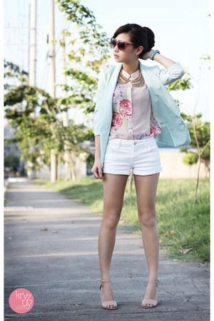aquamarine lemon online blazer - white f&x shorts - beige Reecn top