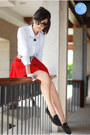 Black-romwe-flats-red-clothes-for-the-goddess-skirt-white-oh-my-frock-top